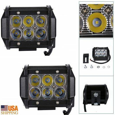 2 Pcs 18W LED Work Light Bar Flood Beam Square Offroad SUV ATV Driving Fog Lamps