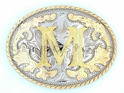 "Initial ""M"" Letter Oval Gold & Silver Rodeo Western Cowboy Metal Belt Buckle"