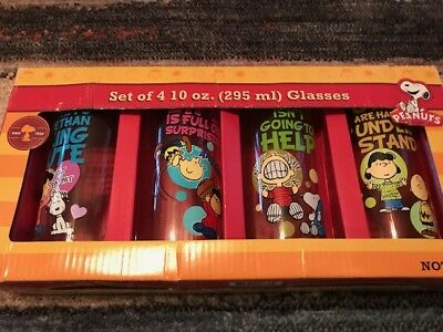 Peanuts Quotes Glasses UPC 733966066369 Set of 4 10 oz.