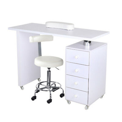 Manicure Table Nail Technician Desks Beauty Station White 3/4 Drawers Or Wheeled