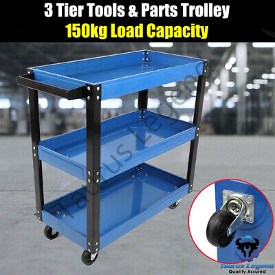 3 Tier Tool Parts Trolley Cart Storage Warehouse Workshop Heavy Duty Steel -Blue
