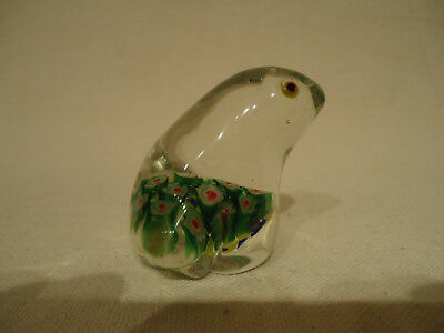 Vintage MILLEFIORI Clear Art Glass FROG Miniature Figurine PAPERWEIGHT Floral