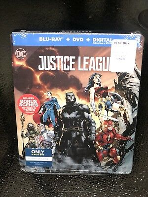 Justice League (Blu-ray/DVD, 2018, SteelBook Only Best Buy) BRAND NEW, SOLD OUT