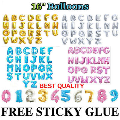"""Self Inflating 16"""" INCH Foil Number & Letters BALLOONS Happy Birthday Ballons*"""