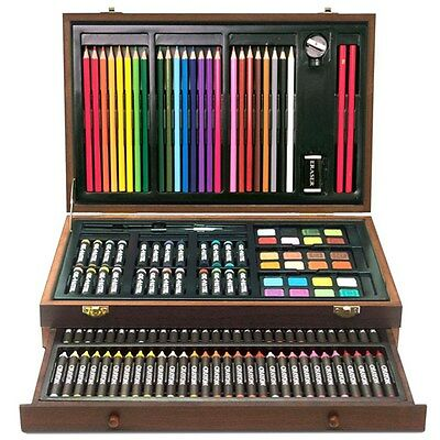 Complete Paint Drawing Art Kit Wooden Box Set Stylish Storage Case 138 Piece
