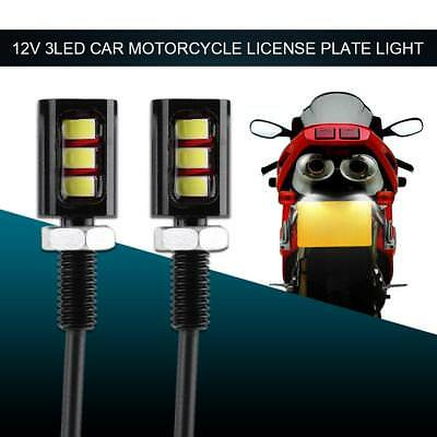 2pcs Screw Bolt 5630SMD 3LED Lights for Car Motorcycle Number License Plate Lamp