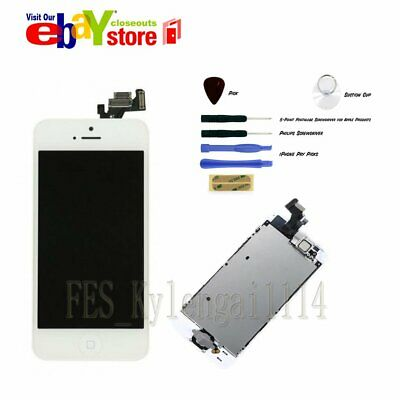 White Full LCD Display Touch Screen Digitizer For iPhone 5 & Home Button Camera
