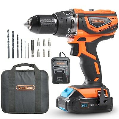 VonHaus Cordless Drill and 2Ah Li-ion 20V MAX Battery, Charger, 13pc Accessories