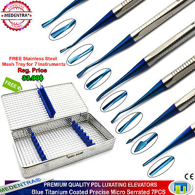 X7 PDL Luxating Elevators Dental Tooth/Root Micro Precise Tips Serrated+Cassette