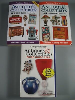 Lot of 3 Antique Trader Antiques Collectibles Price Guides 2014 2016 2005