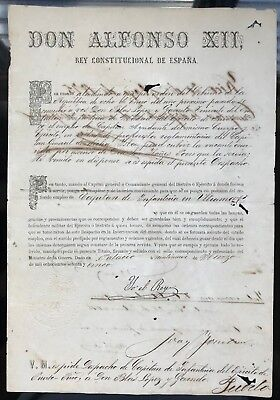 Puerto Rico King Alfonso XII Document awarding promotion to Captain 1875