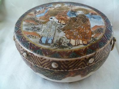 Antique Japanese Satsuma Earthen Pottery Covered Box  3 painted surfaces MEIJI