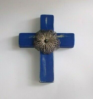 Handcrafted/Re-Cycled Wood Wall Cross-Painted Blue w Mexican Silver Filagree Pin