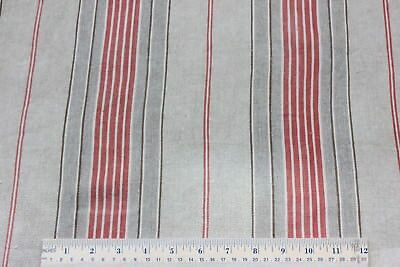 Charming Faded Brick & Tan Antique Linen French Farmhouse Ticking Fabric c1900