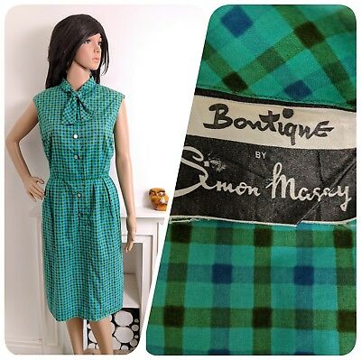 Vintage Simon Massey Blue Green 1950s Cotton Checked Shift Dress 40s 12 40