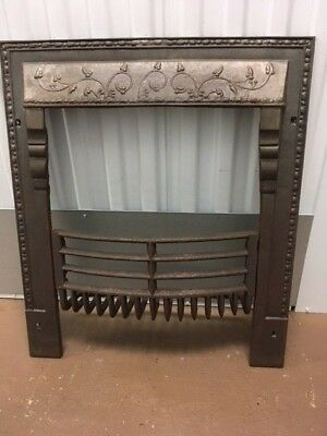 Antique Cast Iron Fireplace Surround With Scalloped Hood 2 Piece Set