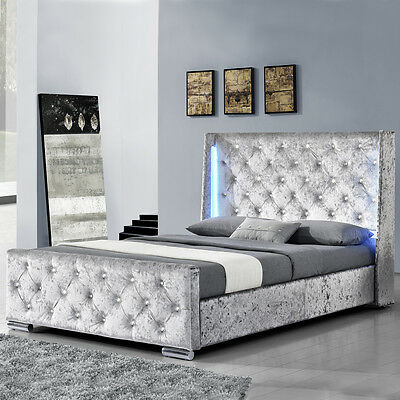 Modern Winged Silver Crushed Velvet Bed Frame With LED Lights Double / King Size