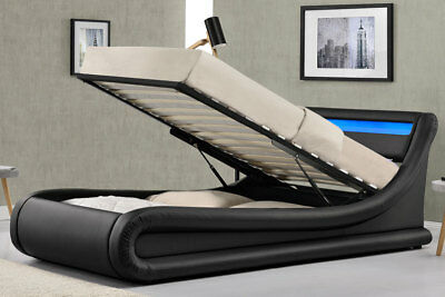 Modern Lift Up Ottoman Storage Bed LED Lights Black Single Double King Size