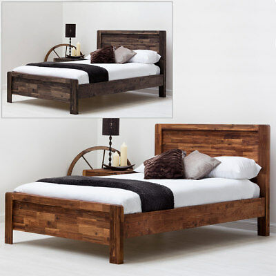 Solid Wooden Bed Frame Modern Farmhouse Handmade Rustic Teak Double / King Size