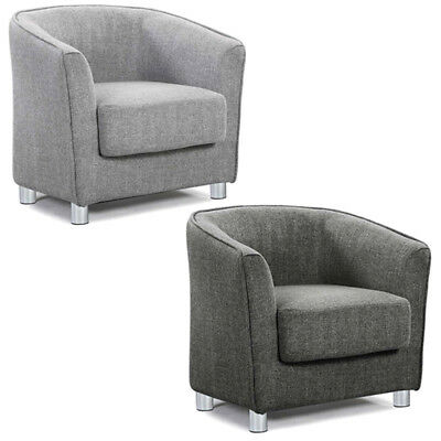 Modern Grey Fabric Tub Chair Armchair Home Work Office Reception Bedroom Kids