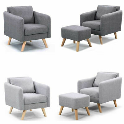 Grey Fabric Modern Occasional Bedroom Accent Chair Armchair Footstool Option