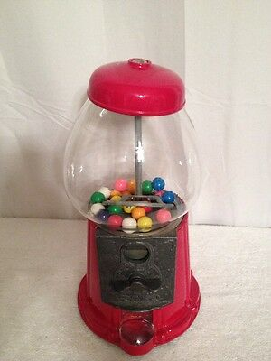Vintage Red Metal & Glass Carousel  Gumball Machine #85
