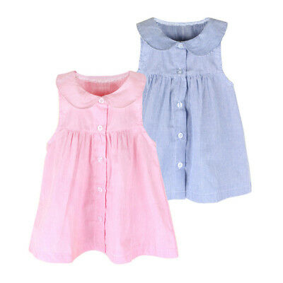 Toddler Infant Kids Baby Girl Dress Clothes Stripe Sleeveless Casual Dresses