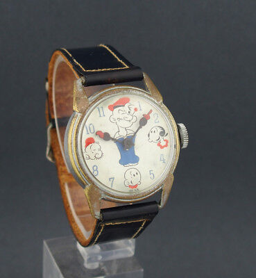Rare Large 32mm 1940's Popeye Swiss Made Character Watch