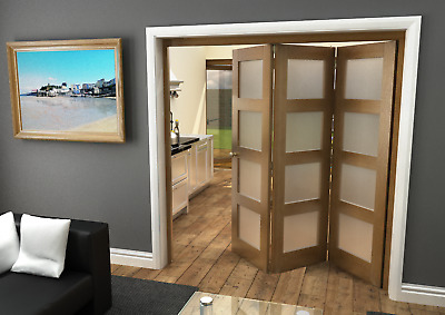 oak 4l internal bifolding doors std room divider 1902mm x 2070mm