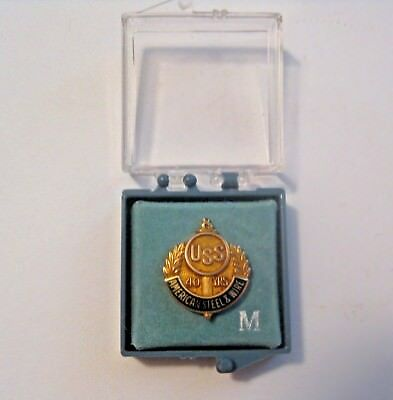 Vintage United States Steel Am. Steel & Wire 40 Year Service Award 10K Gold Pin