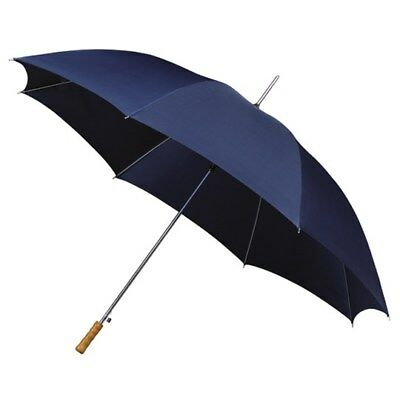 Mini Compact Golf Umbrella with Wooden Handle & Automatic Opening - Navy Blue