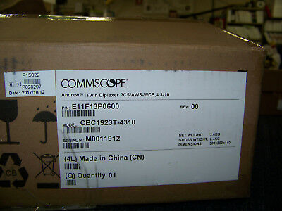 Commscope Andrew Twin Diplexer PCS/AWS-WCS, 4.3-10 E11F13P0600 CBC192eT-4310 New