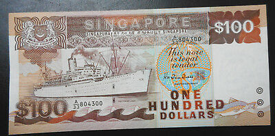 Singapore $100 ship banknote 1985, EF / XF condition, One hundred dollars note