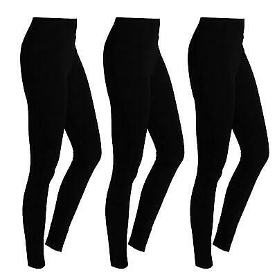 Pack Of3 New Womens Ladies Fleece Thermal Warm Thick Full Length Winter Leggings