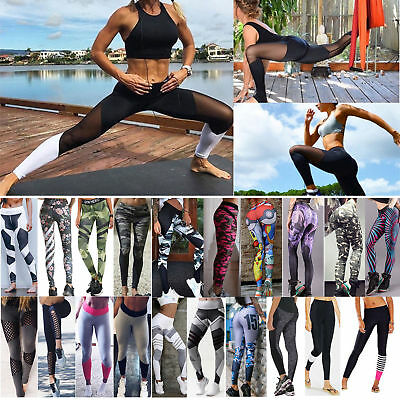 Damen Yogahose Gym Leggings Sporthose Fitness Stretch Sport Jogginghose Leggins