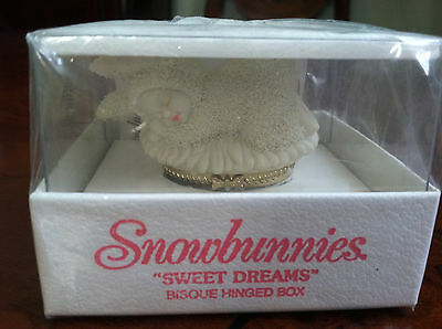 "Dept. 56 Snowbunnies ""Sweet Dreams"" Bisque Hinged Trinket Box, New in Box"