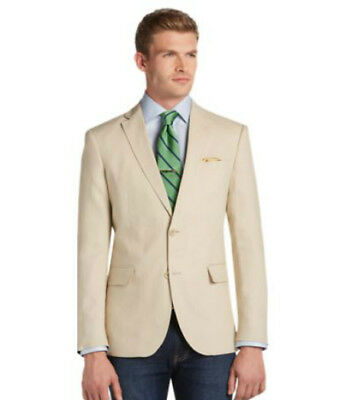 JosABank 100% Linen Sportcoat, Tailored Fit, Large Size, Tan, New with Tags