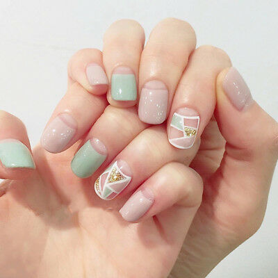 24pcs False Artificial Fake Nails Tips French Cute Finger With Glue