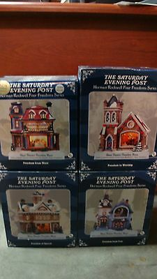 Complete set Norman Rockwell Four Freedoms Series Lighted Houses, Americana, Art