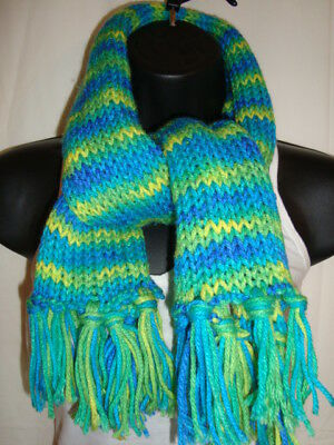 Bright Children's Multi Colored Blue Green Knitted Winter Scarf with Tassels