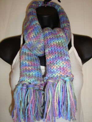 Beautiful Children's Multi Colored Blue Purple Knitted Winter Scarf with Tassels
