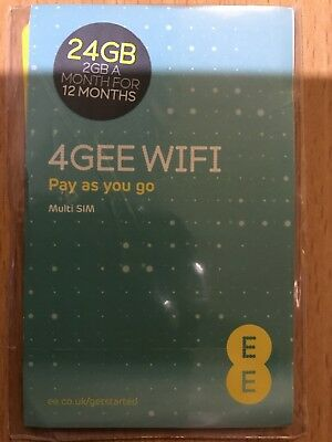 EE 4G 24GB Preloaded Data Sim Card Valid for 12 Months - 2GB per month