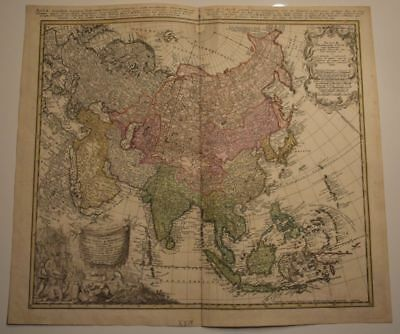 Asian Continent Persia Russia India China Japan Siam Engraving Map Homann 1744