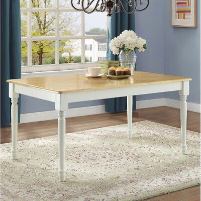 Farmhouse Dining Table Traditional Cottage Kitchen 6 Person Solid Wood Oak 1-Pc