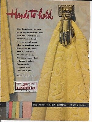 Vintage 1948 CANNON Towels print ad magazine advertisement Hands to Hold laurel