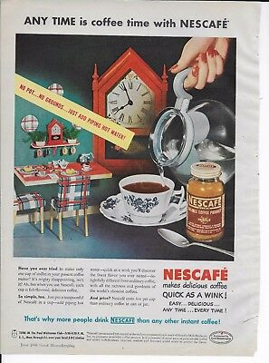 Vintage 1948 NESCAFE Instant Coffee clock Print Ad/Campbell's Soup advertisement