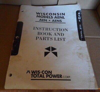 Wisconsin Models AENL  AEN  AENS Small Engine Instruction Book and Parts List