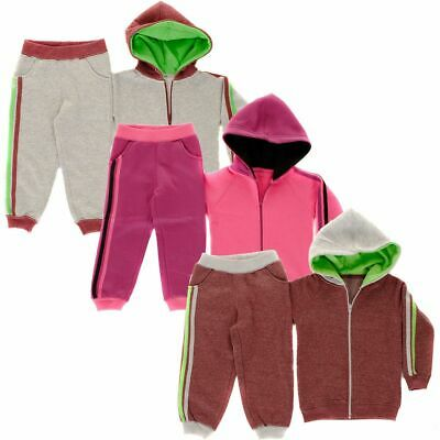 Contrast 2 Stripe Full Zip Hooded Babies Tracksuit  Baby Boys, Girls Size