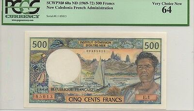 NEW CALEDONIA ND (1969-72) 500 FRANCS, P60a,  PCGS VERY CHOICE NEW 64