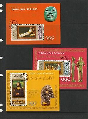 Yemen (YAR) 1968 Mexico Olympics Group of 3 Mini Sheets CTO Great Thematic Item